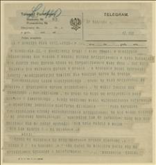 Rozmowa telegraficzna ks. Dominika Ściskały z Ryszardem Kunickim w sprawie zapowiedzianego na niedzielę 22.02.1920 r. wiecu czeskiego w Cieszynie, Cieszyn, 19.02.1920 r.