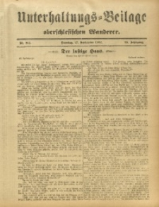 Unterhaltungs-Beilage zum Oberschlesischen Wanderer, 1912, Jg. 85, Nr. 214