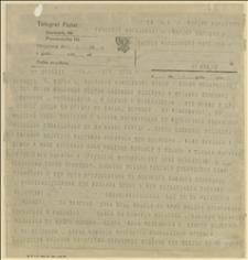 """Telegram do """"Kuriera Warszawskiego"""" i innych gazet warszawskich z informacjami dotyczącymi wydarzeń w Zagłębiu Ostrawsko-Karwińskim z 08.03.1920 r., Cieszyn, 09.03.1920 r."""