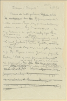 Brudnopis tekstu odezwy Tadeusza Regera, opublikowanej w związku z rostrzygnięciem sporu polsko-czeskiego