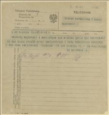Telegram ks. Dominika Ściskały do posła Bobrowskiego w Krakowie w sprawie poszukiwania osób, które wyjechały z Martinkiem, Cieszyn, 09.03.1920 r.