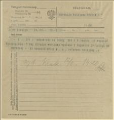 Telegram Witolda Banaszkiewicza, Referenta kolejowego Rady Narodowej Księstwa Cieszyńskiego do Dyrekcji Kolejowej w Krakowie w sprawie wysłania z Bogumina do Warszawy 15 wagonów konopii, Cieszyn, 12.05.1920 r.