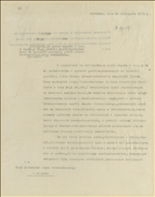 Odpowiedź Ministra E. Sapiehy na interpelację poselską z 16.10.1920 r. posła Regera i towarzyszy w sprawie gwałtów dokonanych na ludności polskiej przez władze Czesko-Słowackiej Republiki - Warszawa, 12.11.1920 r.