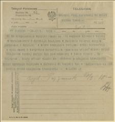 Telegram Wilczka do ks. Milika, Delegata Rady Narodowej Księstwa Cieszyńskiego w Poznaniu w sprawie powiadamiania oficera włoskiego o każdej przesyłce mąki z wyprzedzeniem o 24 godziny, Cieszyn, 17.03.1920 r.