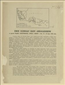 Dwie uchwały Rady Ambasadorów w sprawie Śląska Cieszyńskiego, Spisza i Orawy z dnia 25 i 28 lipca 1920 roku