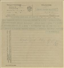 Telegram ks. Józefa Mamicy do posła Jerzego Kantora w Warszawie w sprawie samochodów oraz zapotrzebowania na dodatkowe opony i dętki, Cieszyn, 22.03.1920 r.