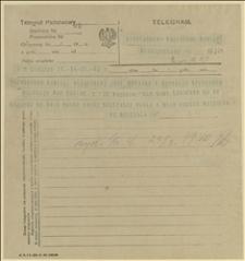 Telegram ks. Dominika Ściskały do Komietu Plebiscytowego w Częstochowie w sprawie wiecu, Cieszyn, 23.03.1920 r.