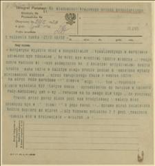 Telegram Wilczka z Poznania w sprawie transakcji kupna produktów żywnościowych, Poznań, 27.03.1920 r.
