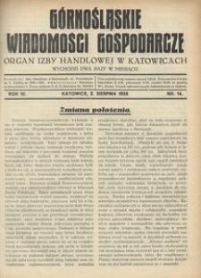 Górnośląskie Wiadomości Gospodarcze, 1926, R. 3, nr 14