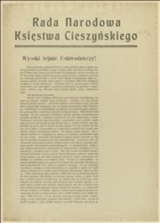 Rada Narodowa Księstwa Cieszyńskiego. Wysoki Sejmie Ustawodawczy!