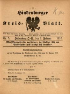 Hindenburger Kreis-Blatt, 1916, Nr. 5