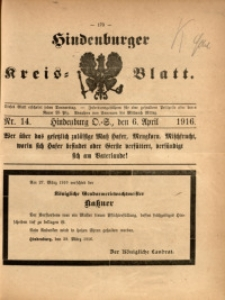 Hindenburger Kreis-Blatt, 1916, Nr. 14
