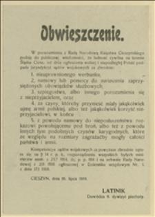 Obwieszczenie. W porozumieniu z Radą Narodową Księstwa Cieszyńskiego podaję do publicznej wiadomości...