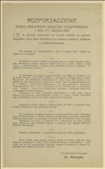 Rozporządzenie Rządu Krajowego Księstwa Cieszyńskiego z 27.08.1919 r. L. 4037/N w sprawie pozwoleń na wywóz prosiąt za granicę, względnie poza linię demarkacyjną między wojskiem polskiem a czesko-osłowackiem