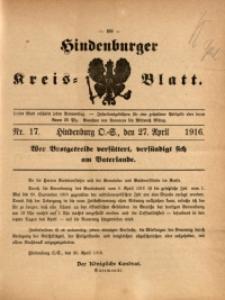 Hindenburger Kreis-Blatt, 1916, Nr. 17