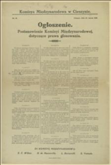 Ogłoszenie. Postanowienie Komisyi Międzynarodowej dotyczące prawa głosowania