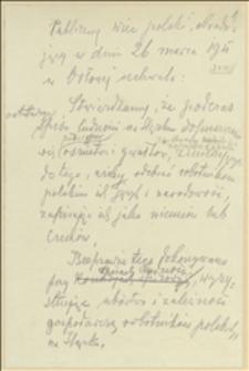 Publiczny wiec polski obradujący w dniu 26 marca 1911 w Orłowej uchwala