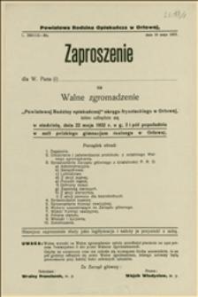 Zaproszenie na walne zgromadzenie Powiatowej Rodziny Opiekuńczej okręgu frysztackiego w Orłowej, które odbędzie się 22.05.1932 r. - Orłowa, 10.05.1932 r.
