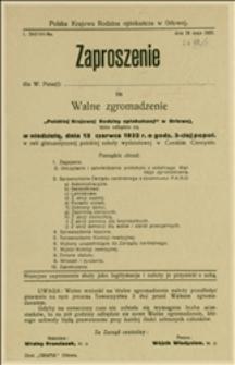 """Zaproszenia na walne zgromadzenie """"Polskiej Krajowej Rodziny Opiekuńczej"""" w Orłowej, które odbędzie się 12.06.1932 r. - Orłowa, 28.05.1932 r."""