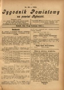 Tygodnik Powiatowy na Powiat Rybnicki, 1924, nr 16
