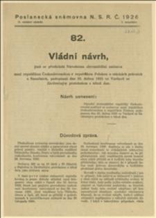 Ratyfikacja umowy z dnia 23.04.1925 r. pomiędzy Polską a Czechosłowacją w kwestiach prawnych i finansowych - Praga, 19.01.1926 r.