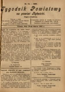 Tygodnik Powiatowy na Powiat Rybnicki, 1927, nr 11