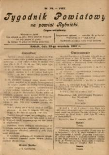 Tygodnik Powiatowy na Powiat Rybnicki, 1927, nr 38