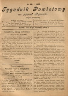 Tygodnik Powiatowy na Powiat Rybnicki, 1928, nr 36