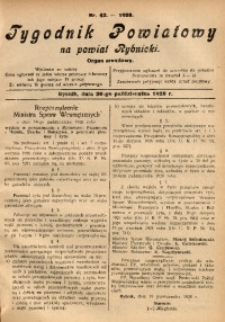 Tygodnik Powiatowy na Powiat Rybnicki, 1928, nr 42