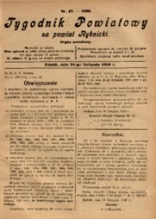 Tygodnik Powiatowy na Powiat Rybnicki, 1928, nr 47
