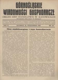 Górnośląskie Wiadomości Gospodarcze, 1927, R. 4, nr 20