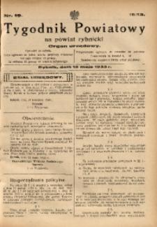 Tygodnik Powiatowy na Powiat Rybnicki, 1933, nr 19