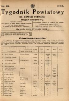 Tygodnik Powiatowy na Powiat Rybnicki, 1933, nr 21
