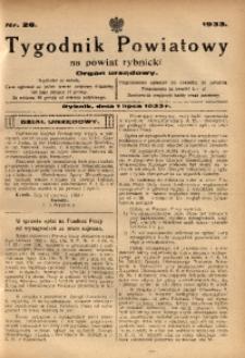 Tygodnik Powiatowy na Powiat Rybnicki, 1933, nr 26