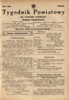Tygodnik Powiatowy na Powiat Rybnicki, 1933, nr 33