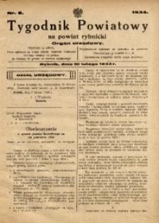 Tygodnik Powiatowy na Powiat Rybnicki, 1934, nr 6