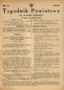 Tygodnik Powiatowy na Powiat Rybnicki, 1934, nr 7