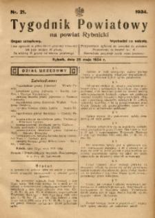 Tygodnik Powiatowy na Powiat Rybnicki, 1934, nr 21