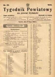 Tygodnik Powiatowy na Powiat Rybnicki, 1934, nr 29