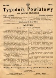 Tygodnik Powiatowy na Powiat Rybnicki, 1934, nr 30