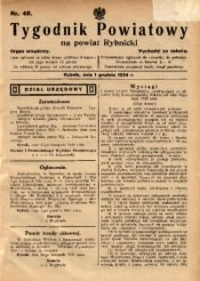 Tygodnik Powiatowy na Powiat Rybnicki, 1934, nr 48