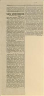 """List z Czechosłowacji. Korepsondencja własna """"Naprzodu"""""""