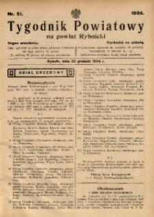 Tygodnik Powiatowy na Powiat Rybnicki, 1934, nr 51