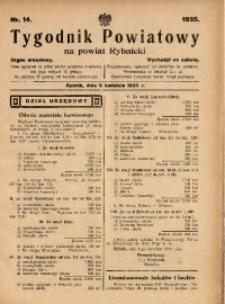 Tygodnik Powiatowy na Powiat Rybnicki, 1935, nr 14