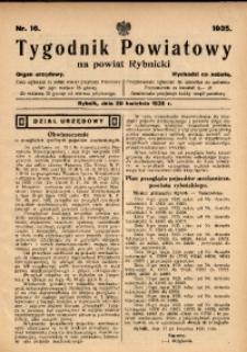 Tygodnik Powiatowy na Powiat Rybnicki, 1935, nr 16