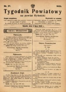 Tygodnik Powiatowy na Powiat Rybnicki, 1935, nr 27