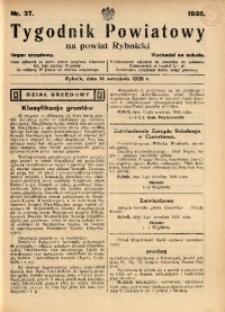 Tygodnik Powiatowy na Powiat Rybnicki, 1935, nr 37