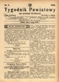 Tygodnik Powiatowy na Powiat Rybnicki, 1936, nr 5