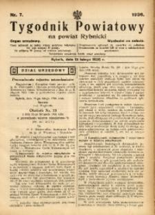 Tygodnik Powiatowy na Powiat Rybnicki, 1936, nr 7