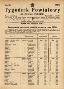 Tygodnik Powiatowy na Powiat Rybnicki, 1936, nr 13